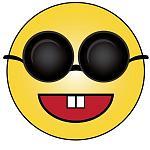 cartoon of a blind smiley wearing dark glasses 0515 1001 2200 1500 SMU