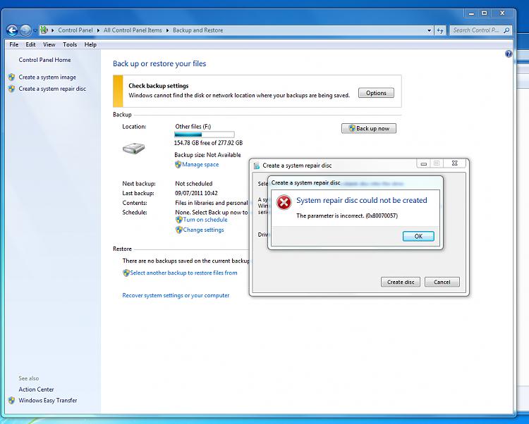 Backup error 0x80070057 - Windows 7 Help Forums