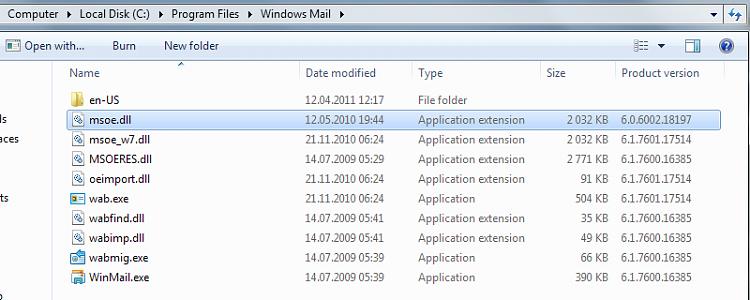 Windows Mail mshtml.dll crash-winmail.png