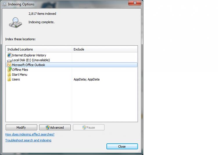 Outlook 2007 in start menu-indexing.png
