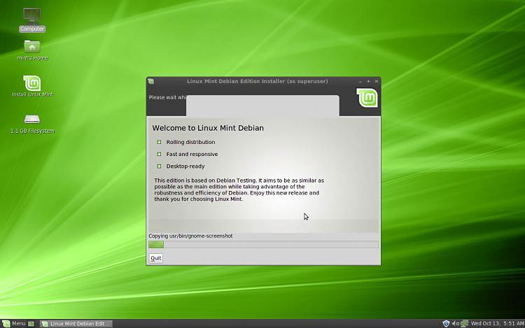 Ubuntu 10.10 to be released on 10/10/10-linux-mint-debian-installing.jpg