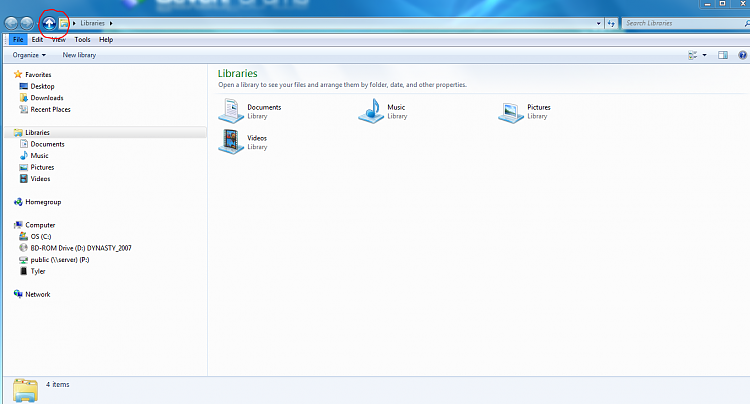 Windows Explorer Up to pa