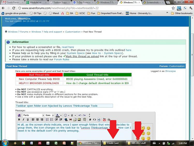 Taskbar open folder group icon hijacked by Lenovo Thinkvantage Tools-normal-folders.jpg