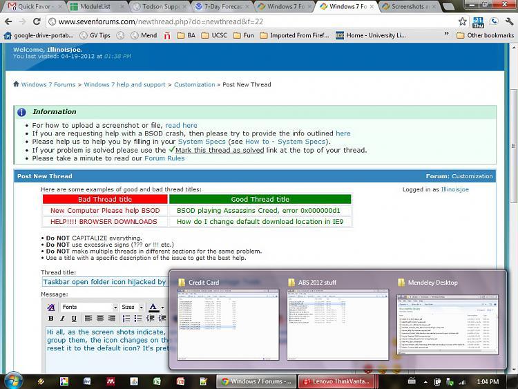 Taskbar open folder group icon hijacked by Lenovo Thinkvantage Tools-grouped-folders-incorrect-lenovo-icon-label.jpg