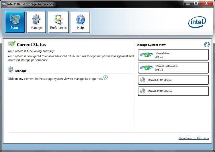 Intel Rapid Storage Technology Status Jpg