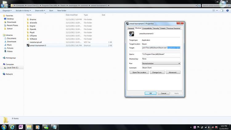 Adding Steam UT3 to games explorer-properties.png