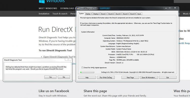 dxdiag.exe microsoft directx diagnostic tool
