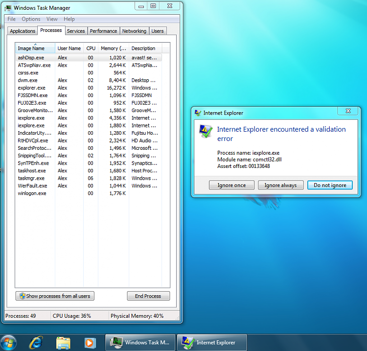Internet Explorer has encountered a validation error-processes.png