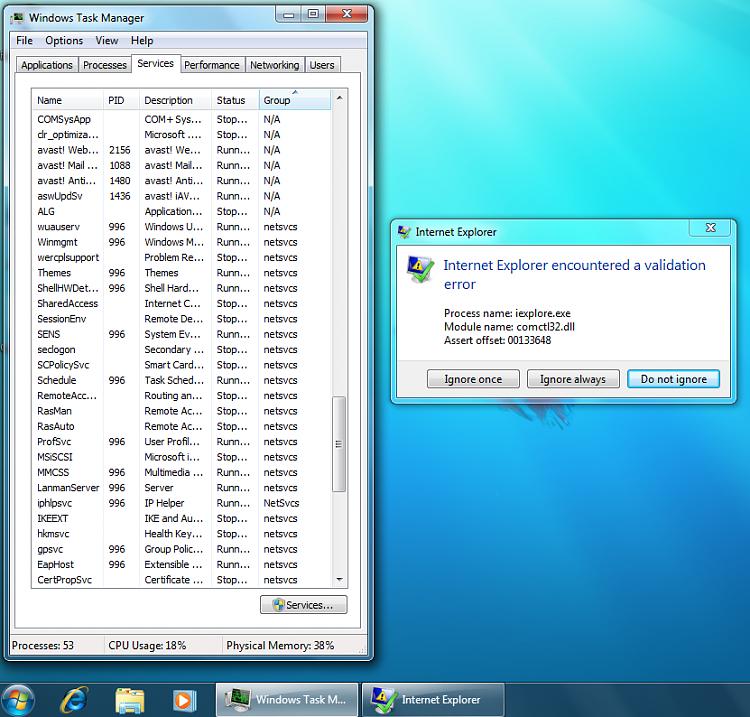 Internet Explorer has encountered a validation error - Windows 7