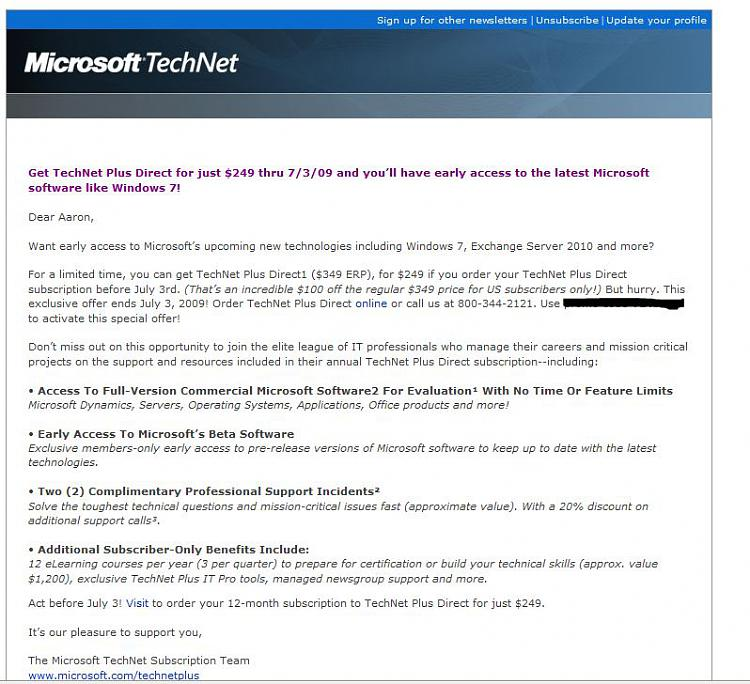 Microsoft offering 0 Technet discount till July 3-technetemail1.jpg