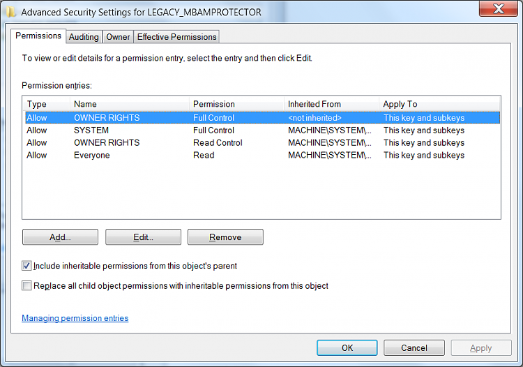 Killing  in Regedit : Legacy key; MBAMPROTECT (NOT)-mbamleg2.png