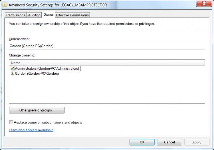 Killing  in Regedit : Legacy key; MBAMPROTECT (NOT)-mbamleg3.png