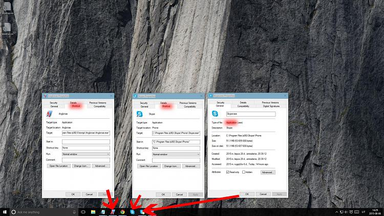 Windows 10 problem with duplicated icons in taskbar, broken Jump Lists-3-shortcut-properties-comparison.jpg