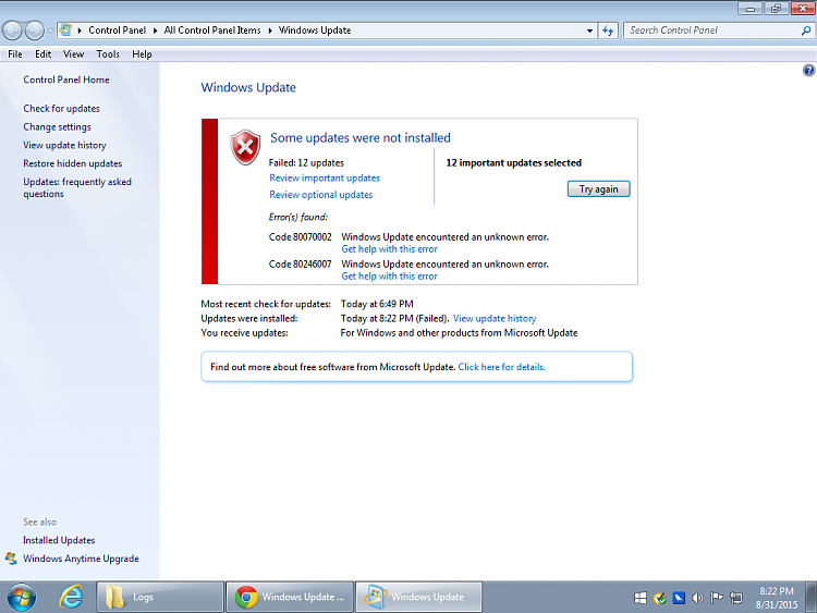 MMC not responding-update-errors.png