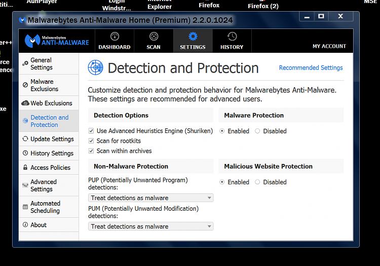 "Getting ""Preparing Security Options""-malware-bytes-settings.png"