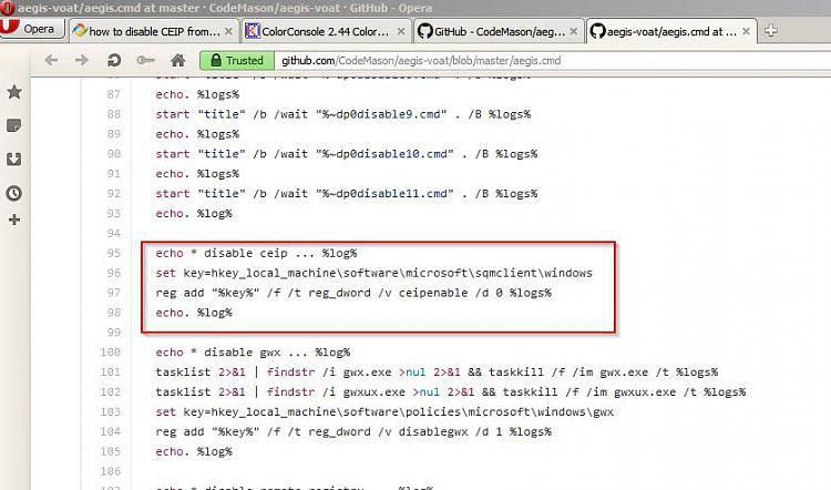 how to disable CEIP from command line-aegis-voat_aegis.cmd-master-codemason_aegis-voat-github-opera.jpg