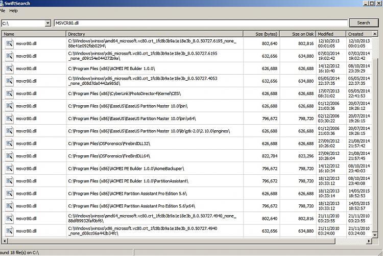 Constant Explorer/thumbnail crash. MSVCR80.dll culprit? How to fix?-swiftsearch.jpg