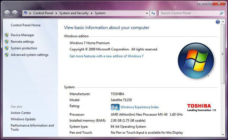 2GB Ram Installed (1 75GB Useable) On 64-bit Win7 - Windows