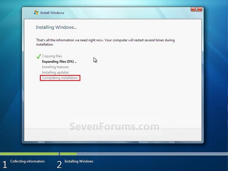"Windows 7 32bit installation freezes at ""completing installation"" (AGA-step9.jpg"