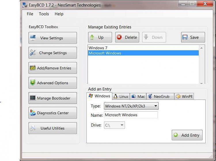 Dual boot 7 and XP: Uninstall of XP-easybcd.jpg