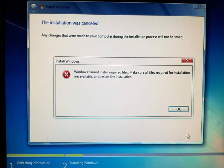 "Error installing W7 ""Windows cannot install req...restart installaion.-21175910_766766386828748_194295862_n.jpg"