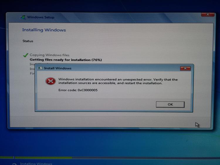 Error 0xc0000005 Windows 7