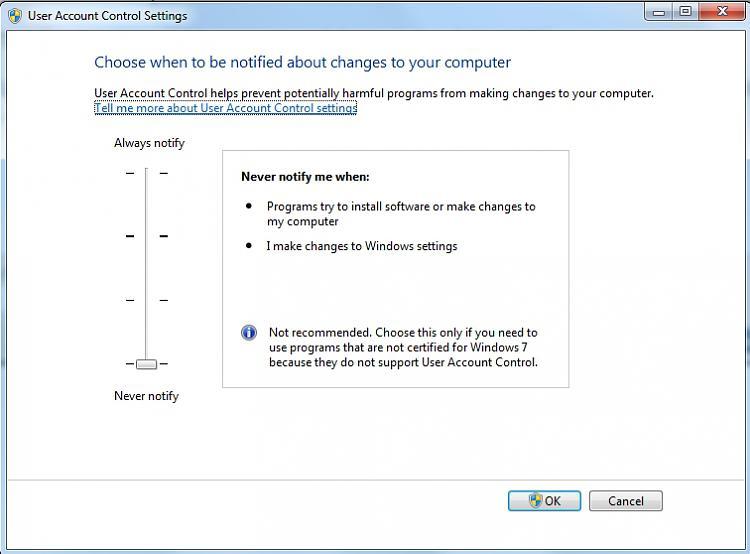 Install Windows 7 Home Premium 64 bit on replacement HDD Dell laptop-uac-slider.jpg