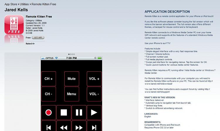 Use iPhone as Media Center Remote-remotekittenfree.jpg