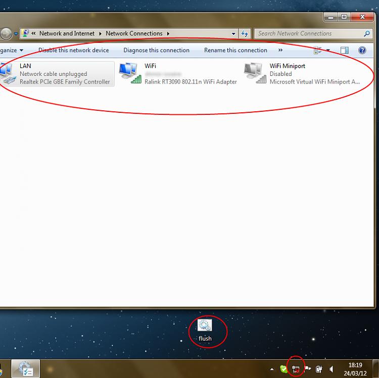 windows 7 network icon red x fix
