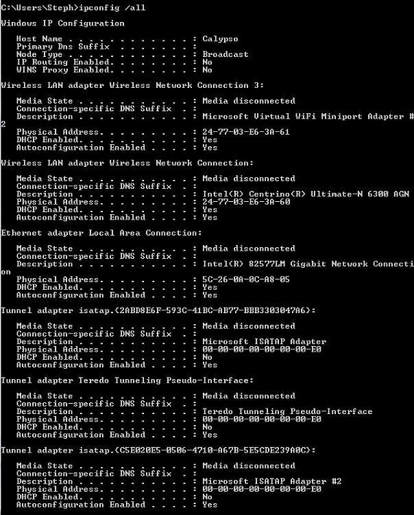 Windows 7 identifies WPA2 network as WEP-ipconfigafterfail1.jpg