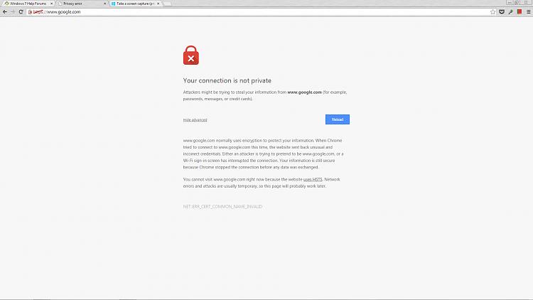 Receiving connections errors on certain websites, pics attached-googleerror.png