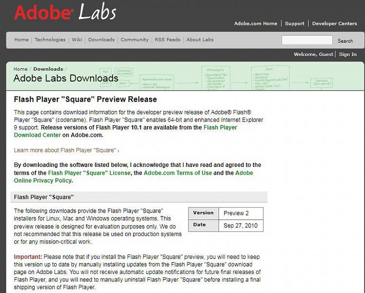 Adobe previews 64-bit Flash Player 'Square'-screenshot_1.jpg