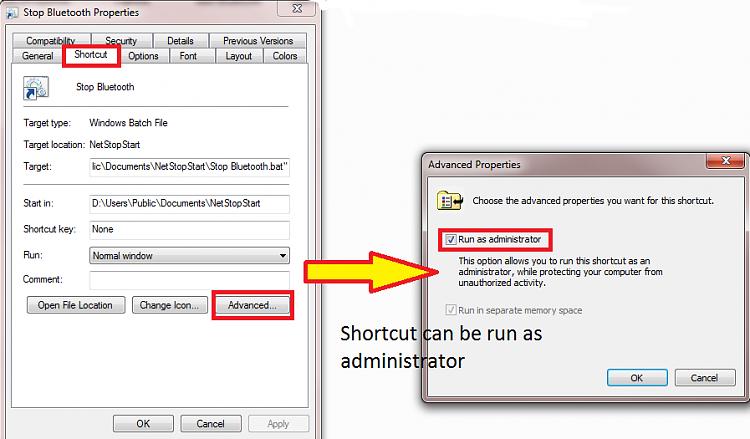 Clickable service start/stop cmd or bat file.  Possible?-shortcutproperties.png