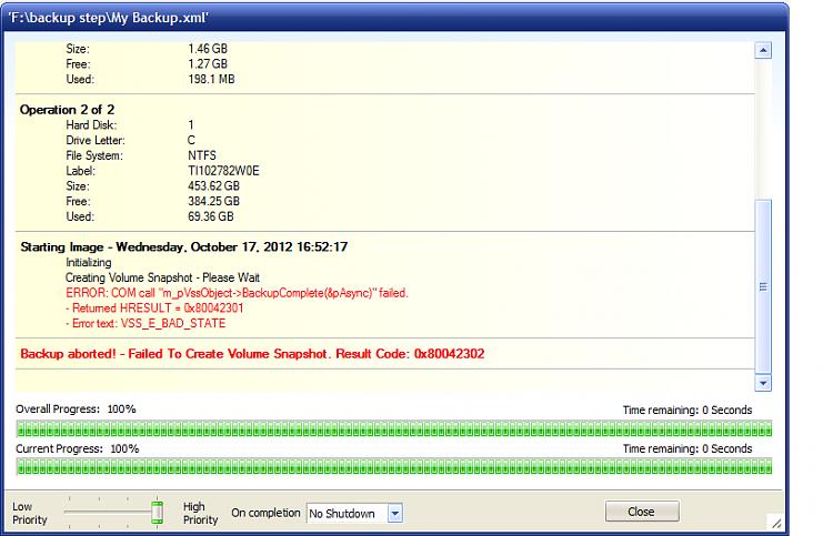 Not responding - now can't open Outlook, check disk-macrium-vss-error.png