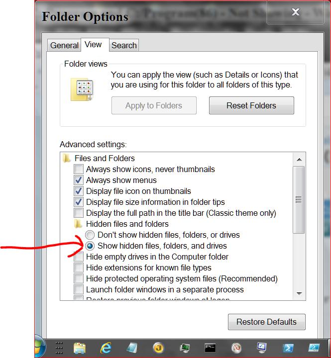C:/Program and C:/Program(86) - Not Showing-folder-options..png
