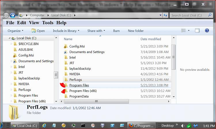 C:/Program and C:/Program(86) - Not Showing-program-files..png