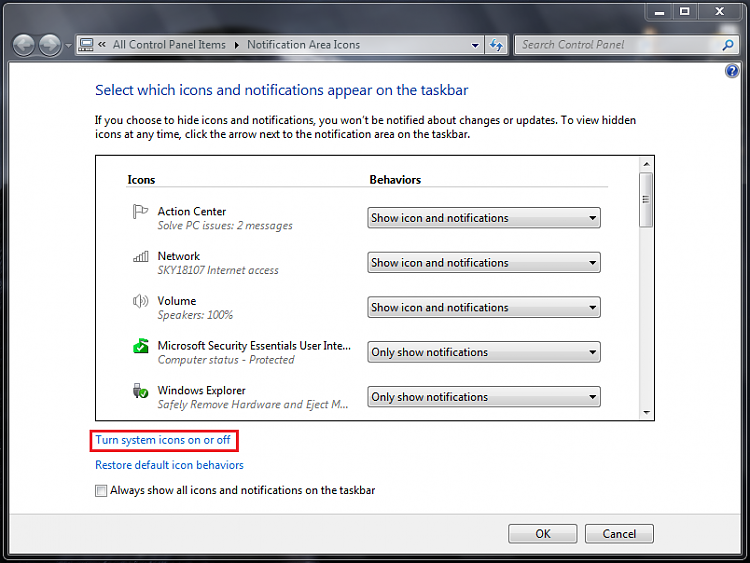 Speaker icon missing Windows 7-step-2.png