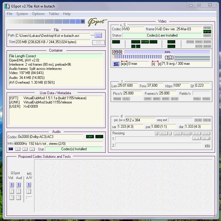 décodeur directshow dolby ac3 audio code 8192