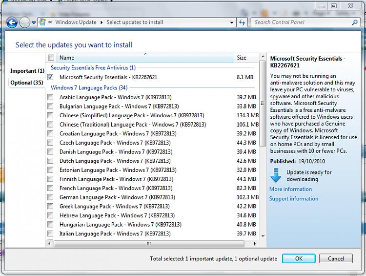 MSE Via Windows Update - Windows 7 Help Forums