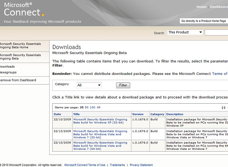 MSE Beta Program Update Released - Windows 7 Help Forums