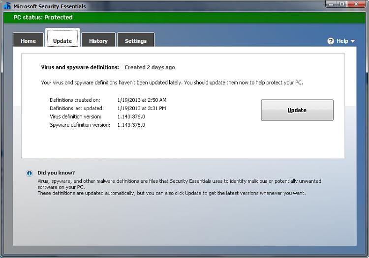 Microsoft security essentials not updating