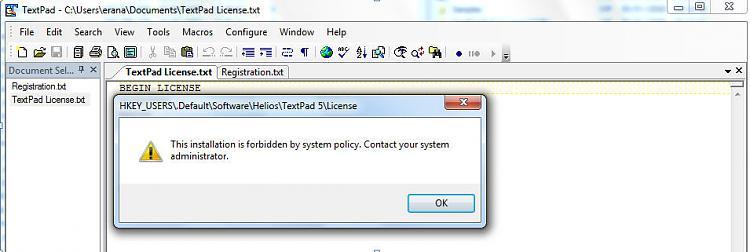 install forbidden by system policy-textpadlicense.jpg