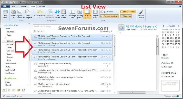 Windows Live Mail Messages - Conversation or List View-list_view.jpg
