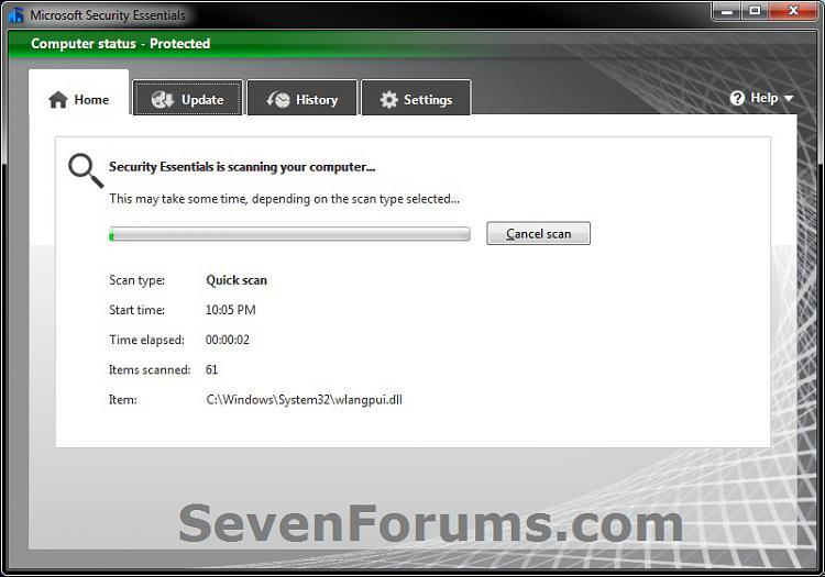 Microsoft Security Essentials - Update & Quick Scan - Create Shortcut-quickscan.jpg