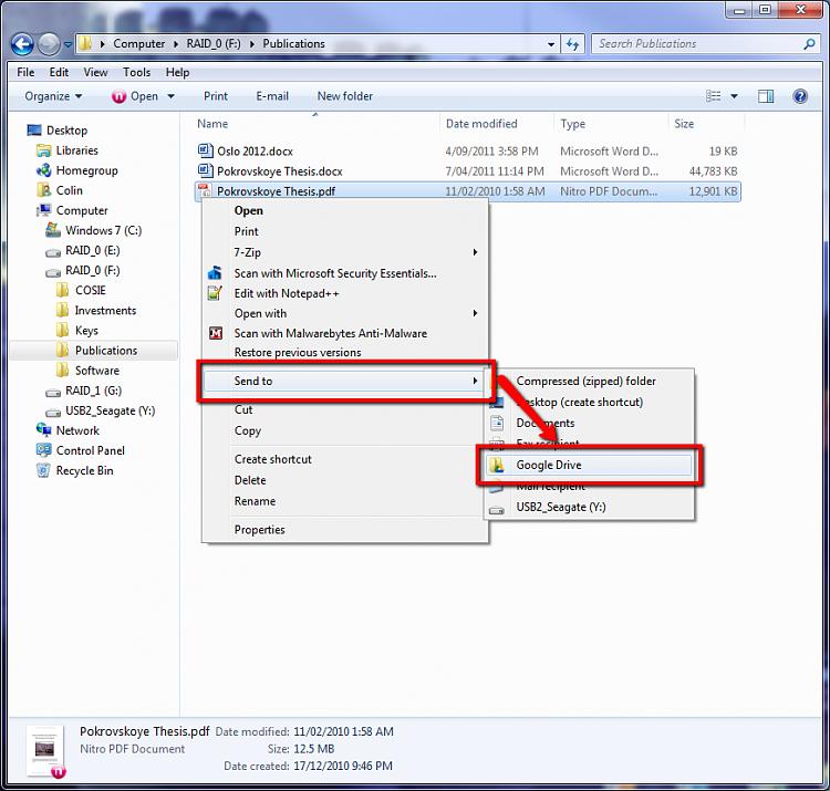 "Google Drive - Add to ""Send To"" Context Menu - Windows 7 ..."