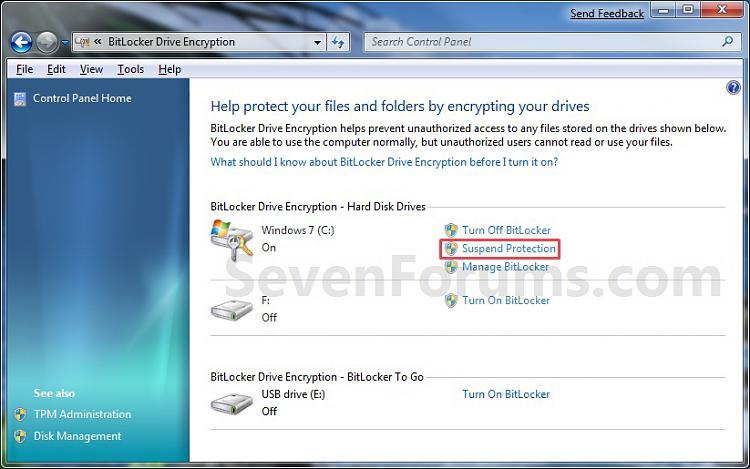 BitLocker Drive Encryption - Suspend or Re