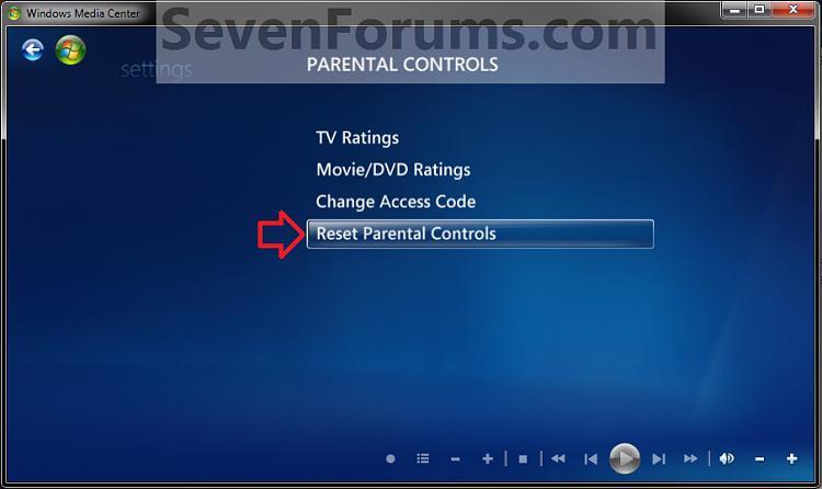 Windows Media Center Parental Controls - Reset-reset1.jpg