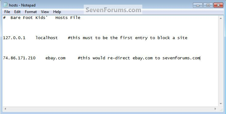 Hosts File : Use in Windows 7 / Vista-hosts-re-direct.jpg