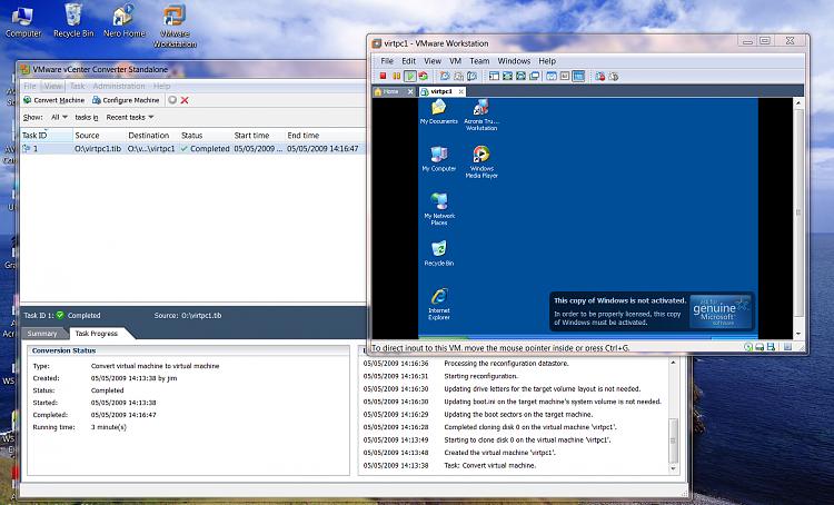 "Creating vmware VM from ""Xp mode"" VM in W7-noovm.png"