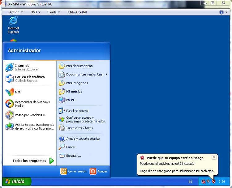 xp virtual machine (x86 Spanish) error-spa2.png